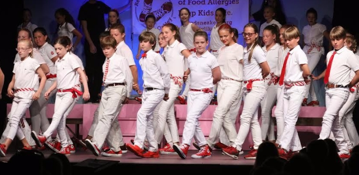 QJTT younger cast members taking tap performed a number in honor of Oakley Debbs and the new Red Sneakers for Oakley redsneakers.org organization to raise awareness of food allergies. --Susan Bick Photos