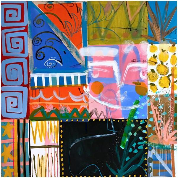 Sally King Benedict, Tangine, 2019, 60_ x 60_ Mixed media on wood panel
