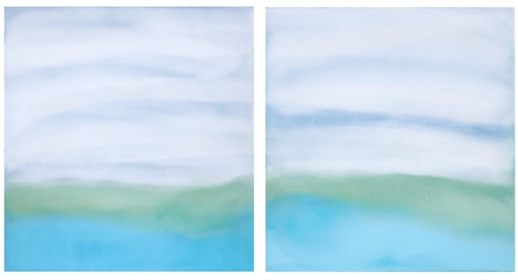 Untitled (Blue_Green), 2019, Oil on paper, 34_ x 64_ (1)