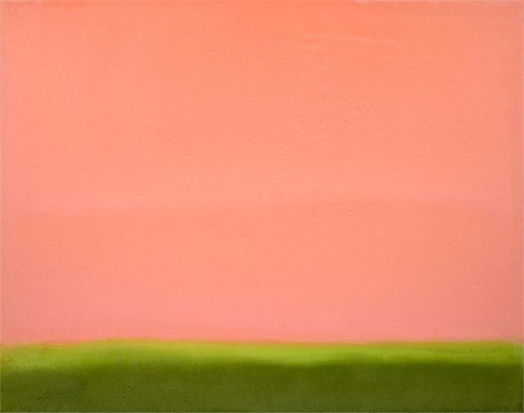 Untitled (Hot Orange_Green), 2019, Oil on Linen, 32_ x 40_