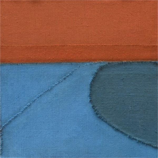 Untitled (Orange_Blue), 2019, Oil on collaged linen, 12_ x12_
